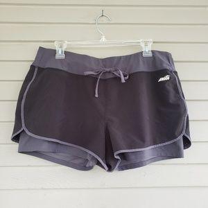 Avia Black & Gray Running Shorts with Liner